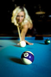 Billiard girl Royalty Free Stock Image