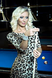 Billiard girl Royalty Free Stock Photos