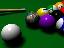 Billiard with Globe instaed of one ball. 3D Rendered image of Billiard vector illustration