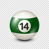 Billiard,green pool ball with number 14.Snooker. Transparent background.Vector illustration. Billiard,green pool ball with number 14.Snooker. Transparent vector illustration