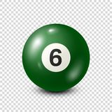 Billiard,green pool ball with number 6.Snooker. Transparent background.Vector illustration. Billiard,green pool ball with number 6.Snooker. Transparent stock illustration