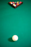 Billiard green table with set of balls Royalty Free Stock Photography