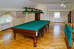 The billiard hall on a mansard floor Royalty Free Stock Photos