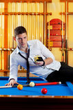 Billiard handsome player man drinking alcohol Royalty Free Stock Photography