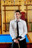 Billiard handsome young man with shirt cue and tie Stock Photography