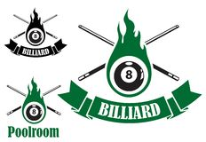 Billiard icons with crossed cues Stock Photography