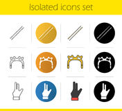 Billiard icons set Royalty Free Stock Images