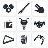 Billiard icons set Stock Photography