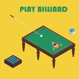 Billiard isometric vector graphic illustration. Colorful background. Royalty Free Stock Photo