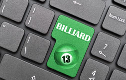 Billiard on keyboard. Green 3d number 13 billiard on keyboard Stock Photos