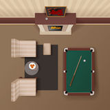 Billiard Lounge Top View Realistic Image Stock Photos