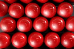 Billiard many red balls rows background texture Royalty Free Stock Images