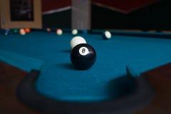 Billiard Match. On a blue table stock photo