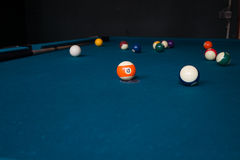 Billiard Match. On a blue table stock image