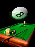 Billiard party. Two pinte of beer on a  billiard table,  with  billiard balls and sticks, under a big eight ball reflecting the scene Stock Photography