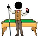 Billiard player. Silhouette-man sport icon - billiard player Stock Image