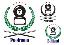 Billiard or pool badges or emblems Royalty Free Stock Photography