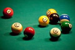 Billiard - pool balls. Pool balls on green billiard table Stock Images