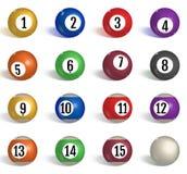 Billiard, pool balls collection. Snooker. Realistic balls on white background. Vector illustration stock illustration