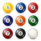 Billiard,pool balls collection for snooker. White background. Vector illustration. Billiard,pool balls collection for snooker. White background. Vector stock illustration