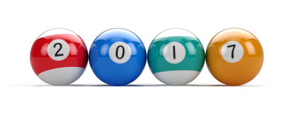 Billiard pool balls with 2017 numbers Royalty Free Stock Photos