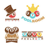 Billiard or pool club poolroom vector labels templates set Royalty Free Stock Photos