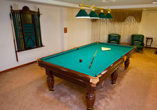 Billiard pool game room. An empty billiard pool game room ready for a play Royalty Free Stock Photography