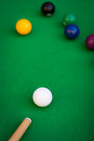 Billiard or pool game situation. Close-up of billiard or pool game situation Royalty Free Stock Image