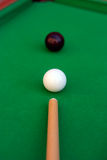 Billiard or pool game winning shot. Billiard or pool game. Black eight ball close to the corner pocket Stock Images