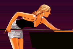 Billiard Pool girl. A vector illustration of a sexy girl playing pool or billiards Royalty Free Stock Images