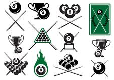 Billiard, pool and snooker sports emblems. With crossed cues, billiard balls, trophy cups and table Stock Photography