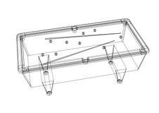 Billiard pool table 3D blueprint - isolated. Shoot of the billiard pool table 3D blueprint - isolated Stock Photography