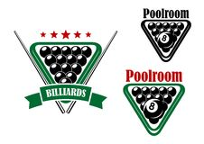 Billiard or poolroom emblem Royalty Free Stock Photos
