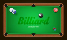 Billiard poster. Pool table background illustration with billiard balls and billiard chalk Royalty Free Stock Image