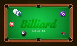 Billiard poster. Pool table background illustration with billiard balls and billiard chalk Royalty Free Stock Photo
