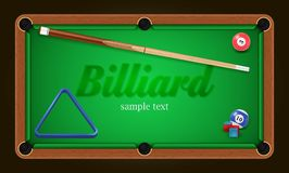 Billiard poster. Pool table background illustration with billiard balls and billiard chalk and cue Royalty Free Stock Photos