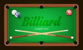 Billiard poster. Pool table background illustration with billiard balls and billiard chalk and cue Stock Photos