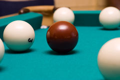 Billiard. The red ball. Stock Photo