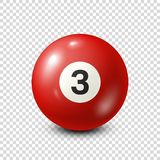 Billiard,red pool ball with number 3.Snooker. Transparent background.Vector illustration. Billiard,red pool ball with number 3.Snooker. Transparent background vector illustration