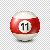 Billiard,red pool ball with number 11.Snooker. Transparent background.Vector illustration. Billiard,red pool ball with number 11.Snooker. Transparent background royalty free illustration