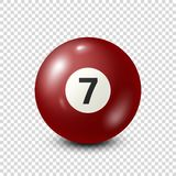 Billiard,red pool ball with number 7.Snooker. Transparent background.Vector illustration. Billiard,red pool ball with number 7.Snooker. Transparent background stock illustration