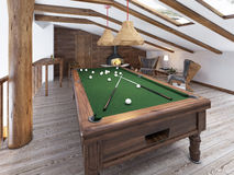 Billiard room in the attic with sitting area and fireplace. Modern billiard room in the loft. Wooden pool table. 3D render royalty free stock photo