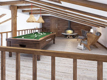 Billiard room in the attic with sitting area and fireplace. Modern billiard room in the loft. Wooden pool table. 3D render royalty free stock images