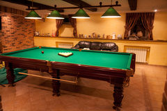 Billiard room at club Stock Image