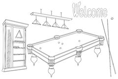 Billiard room welcome Stock Image