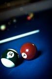 Billiard saloon. Close up shut of the billiard tables Stock Photography