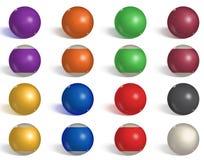 Billiard samling för pölbollar snooker Omvänt tomt, realistiska bollar för sida på vit bakgrund också vektor för coreldrawillustr vektor illustrationer