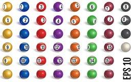 Billiard samling för pölbollar snooker Realistiska bollar på vit bakgrund också vektor för coreldrawillustration stock illustrationer