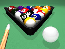 Billiard Set. High quality photorealistic 3D rendered billiard (pool) scene with balls in the plastic triangle and a cue next to the white cue ball on the pool Stock Images