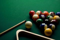 Billiard set. Image of billiard set on the pool table Stock Images